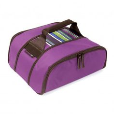 Transport food in style with the Rachael Ray Purple 10'x10' Stowaway Potlucker, available at the Food Network Store