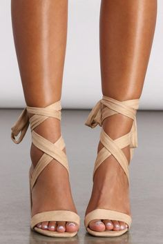 Wrap Around Heels, Wrap Heels, Cute Heels, Suede Material, Nice Dresses, Summer Dresses, Gladiator Sandals, Prom Ideas, Wedding Ideas