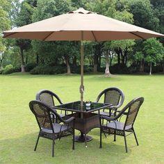 8' ft Patio Umbrella Aluminum Crank Tilt Table Market Outdoor Yard Beach Tan…