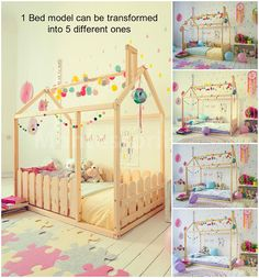 Kids furniture Toddler bed House bed Crib Bed house Floor bed
