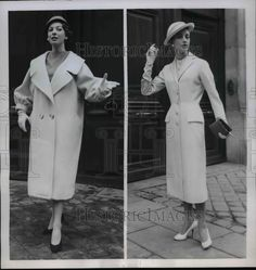 1955 Press Photo Jacques Griffe styled coats in yellow wool modeled in Paris