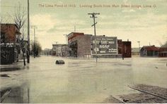 lima ohio in Collectibles | eBay  1913 flood in lima- looking south down main street from bridge.