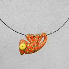 Hand made polymer clay cute ORANGE spotted chameleon by Twiggynkaa