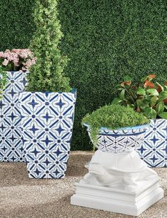 Inspired by archival patterns from Grecian tiles, the design is repeated in vibrant fade-resistant paint, creating a bold accessory that's equal parts modern and classic. The graphic quatrefoil and lozenge design of the Mykonos Handpainted Planter has a contemporary feel, countered by the traditional tapered and rimmed silhouette. Wicker Planter, Planters, Garden Oasis, Grand Entrance, Quatrefoil, Indoor Outdoor Rugs, Mykonos, Contemporary, Modern
