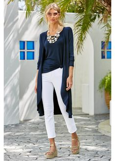 Navy Long Duster Set ~ Long Cardigan Set ~ More than a wardrobe staple, this maxi cardigan is not only chic but compfy! This comfortable piece features an attached top and cardi combo in a soft… Maxi Cardigan, Navy Cardigan Outfit, Navy Dress, Long Cardigan Outfit Summer, Sweater Outfits, Spring Fashion Casual, Summer Fashion Trends, Spring Outfits, Ootd Spring