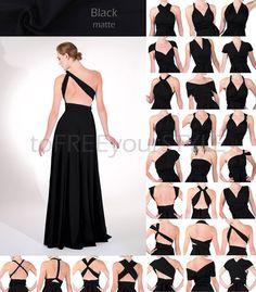 Long infinity dress in BLACK matte FULL von toFREEyourSTYLE auf Etsy