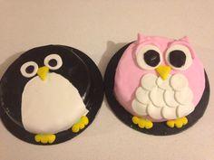 Penguin and Owl cakes. Similar design. Black and pink fondant. Fondant, Owl Cakes, Cupcakes, Penguin, Birds, Desserts, Pink, Black, Food