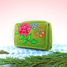 Designed by PETA approved vegan brand LAVISHY, this Eco-friendly, ethically made, cruelty free small tri-fold wallet for women with peony & butterfly embroidery motif. More vegan fashion accessories for wholesale at www.lavishy.com to gift shop, fashion accessories & clothing boutique in Canada, USA & worldwide. Butterfly Embroidery, Embroidery Motifs, Embroidered Flowers, Accordion Fold, Vegan Wallet, Large Wallet, Pink Necklace, Vegan Fashion, Peony Flower