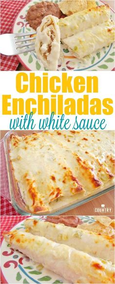 Creamy Cheesy Chicken Enchiladas with white sauce (Mexican Food Recipes) White Sauce Enchiladas, Creamy Chicken Enchiladas, Chicken Enchilada Casserole, Enchiladas Healthy, Cheesy Enchiladas, Enchilada Cheese Sauce Recipe, Enchilada Recipe With White Sauce, Creamy Enchilada Recipe, Chicken Enchilada Recipes