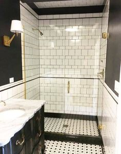 Black and White Powder Room by Amy Studebaker Design