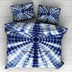 Item - 1 PC Tie Dye Shibori Duvet Cover With Beautiful Indian Cotton Mandala Tie Dye Shibori Duvet Cover or Quilt Cover in King sizewith pillow covers. Front side has Indigo Blue Base on White Color Mandala Tie Dye Shibori Pattern have been crafted. Shibori, Tie Dye Bedding, Cotton Bedding, 100 Cotton Duvet Covers, Pillow Covers, Bed Covers, Boho Duvet Cover, Luxury Duvet Covers, Luxury Bedding