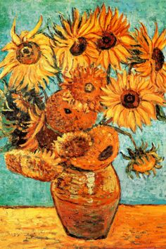 Vincent Van Gogh Vase with Twelve Sunflowers Art Print Poster Poster. One day...