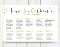 Printable seating chart poster template instant download