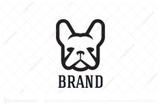 Logo for sale: French Bulldog Head Logo Unique and simple geometric style french bulldog head logo suitable for pet related business or brand. dog pet doggy doggie pup accessories food apparel clothing logo logos
