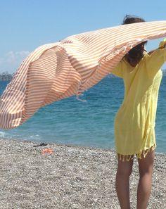Ecofriendly Organic Turkish Towel, Peshtemal, beach towel, bath towel, pareo, sarong, yoga, wedding party, orange, summer, mother's day