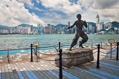 Avenue of the Stars, Hong Kong.  This is the statue of Bruce Lee, along the Avenue of the Stars on Tsim Sha Tsui.  It's Hong Kong's take on Hollywood.  Bit cheezy but have a look at that view!