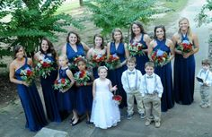 Fall wedding bridesmaids navy different styles