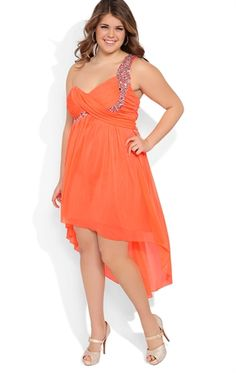 e79308cd1a6 Plus Size High Low Homecoming Dress with Stone Strap and Ruched Bodice High  Low Prom Dresses