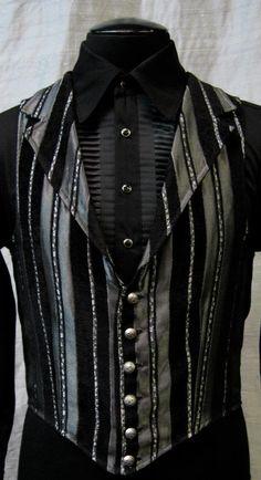 Victorian Aristrocrat Vest - Silver/Black Stripe by Shrine (www.shrinestore.com).