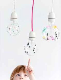 Use a sharpie and draw a design on a light bulb to cast a neat shadow when the light is turned on.