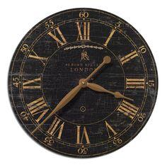 Bond Street 18 Inch Black Clock Uttermost Wall Mounted Clock Clocks Home Decor