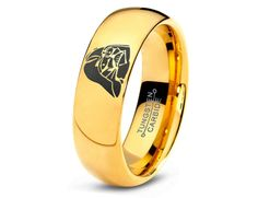 Star Wars Darth Vader Tungsten Wedding Band Ring Mens Womens Polished Domed Yellow Gold Fanatic Geek Anniversary Engagement Sizes Available