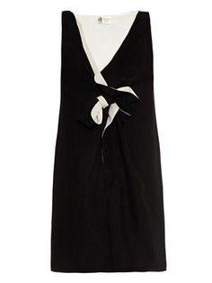 Bow-embellished silk-crepe dress