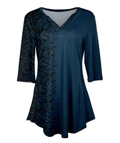 Take a look at this Blue & Black Speckle V-Neck Tunic - Plus Too today!