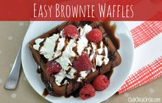 Brownie waffle with raspberries and whipped cream