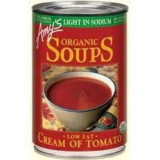 Amy's Organic Light in Sodium – Cream of Tomato Soup  Responding to customer requests, our chefs have created a line of Light in Sodium soups with all the flavor and goodness of our regular soups, but containing 50% less sodium. Contains 340 mg of sodium compared to 690 mg in Amy's regular cream of tomato soup.