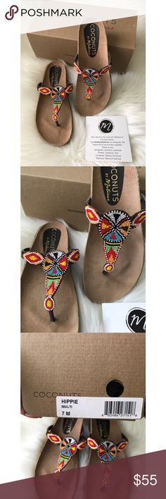 🆕in box Coconuts by Matisse Hippie Beaded Sandles 🆕in box Coconuts by Matisse Hippie Beaded Sandals/flipflops .  These did not come half sizes.  If you are a 6.5 go up to a size 7 (this is why I list it as size 6.5) Purchased these online, too small.  I re ordered an 8 that fits prefect.  I am a size 7.5 in sandals/flipflops. Matisse Shoes Sandals