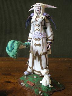 Polymer clay World of Warcraft night elf priest