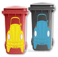 sticker smaller if required and it is easiest to apply to bins with flat panels. the colours and personalised plate. If you don't inform us of a colour/number plate. high x wide. Wheelie Bin Stickers, Trash Bins, Vw Beetles, Campervan, Bugs, Volkswagen, Decals, Colours, Plates