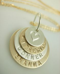 Gwendolyn - Hand Stamped Necklace  Engraved Mommy by jamesmichellejewelry, $75.00