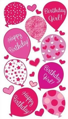 Birthday Girl Balloons Scrapbooking Stickers