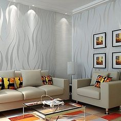 ARUHE Nonwoven Curve Pattern 3D Wallpaper Modern for WallsWall Vinyl Textured Wallpapers Wall Decal Stickers One Roll Wallpaper Sliver 217 x 3937 ** Click image to review more details.