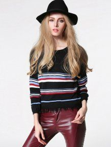Black Loose Striped Pullovers Woman Sweater