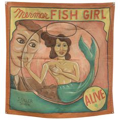 "1950's Circus Sideshow Banner "" Fish Girl "" By Sigler Studios 