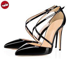 f8fde15cb5aa EKS Damen Ankle Strap 10cm High Heels Spitze Pumps Damenschuhe Grau 35 EU   Amazon.de  Schuhe   Handtaschen