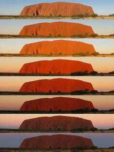 Colours of Uluru Someday I will see it: The legandary colour change of Uluru during sunset.Someday I will see it: The legandary colour change of Uluru during sunset. Australia Day, Western Australia, Australia Travel, Ayers Rock Australia, Tasmania, Sunshine Coast, Places To Travel, Places To See, Photos Voyages