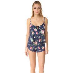Wildfox Gypsy Rose Cami Sleep Set ($98) ❤ liked on Polyvore featuring intimates, sleepwear, pajamas, wildfox and camisole sleepwear