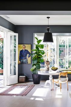 Nailing form and function, this beautiful family home in southwest London works on every level. A late-Edwardian terraced house with modern rustic style. Charcoal Sofa, Dark Grey Walls, Australian Painters, Wood Pendant Light, Edwardian House, Aboriginal Artists, Living Room Shelves, Paint Shades, Cafe Chairs