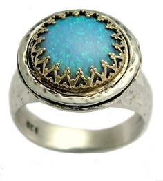 Gemstone ring - Sterling silver and yellow gold filigree crown ring with a blue opal stone - Glamour.