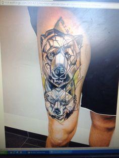 Wolf and bear geometric watercolor tattoo