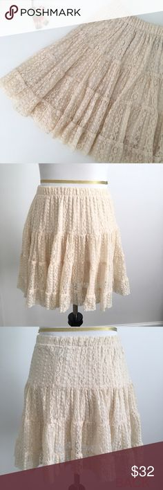 A-line Mini Lace Skirt - Size S A-line Mini Lace Skirt - Size S  * Delicate lace skirt with elastic waist with lining  * In great condition  * Tag is missing. Composition is unavailable.   * Approx. Measurements: Length 16"