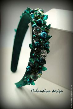 "Купить Ободок с камнями в стиле Дольче "" Изумрудный лес"" - тёмно-зелёный, ободок Fascinator Headband, Flower Headpiece, Wide Headband, Fabric Headbands, Handmade Headbands, Girls Hair Accessories, Wedding Hair Accessories, Wedding Hair Pieces, Hair Jewelry"