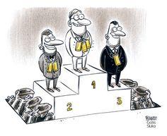 Gatis Sluka https://karikatura.lv mycartoons rich richlife richest millionaire million billionaire billion gold poor poorest beggar begging pedestal top cartoon