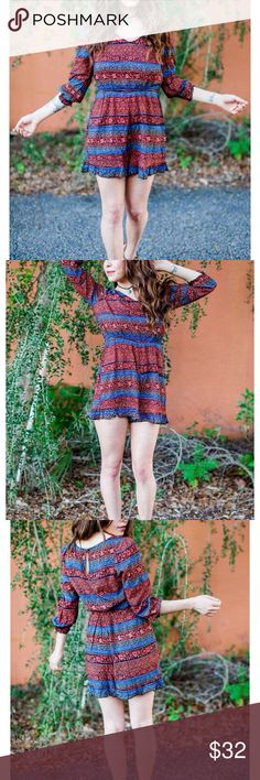 """🍃🌺 Boho Chic Ruffled Tribal Aztec Print Romper 💗 Effortlessly boho chic geo print romper 💗 100% Rayon 💗 Elastic waistband & elastic ruffle sleeves 💗 Keyhole button closure at the back 💗 Hand wash cold, dry flat  SMALL  Bust: Approximately 32"""" Waist: Approximately 26""""  Length:  Approximately 29""""-30""""  MEDIUM Bust: Approximately 34"""" Waist: Approximately 28"""" Length:  Approximately 29""""-30"""" En Creme Pants Jumpsuits & Rompers"""