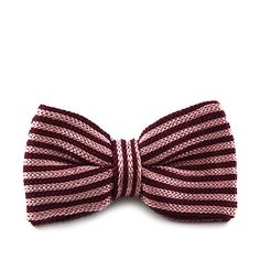 Tied pink knitted bow tie