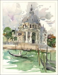 Urban Sketchers: Marc Holmes - Santa Maria Della Salute, sketched from a secret garbage handler's dock